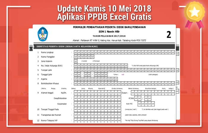 Update Kamis 10 Mei 2018 Aplikasi PPDB Excel Gratis
