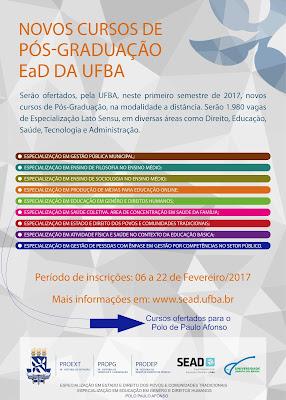 Novos cursos de Pós-graduação EaD da UFBA - Com vagas para Paulo Afonso