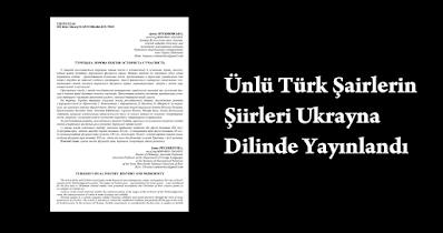 Ünlü Türk Şairlerin Şiirleri Ukrayna Dilinde Yayınlandı
