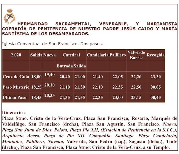 Horario y recorrido de la Hermandad del Caido de Cádiz para el próximo Martes Santo 2020.