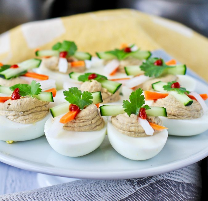 Banh Mi Deviled Eggs with a pickle