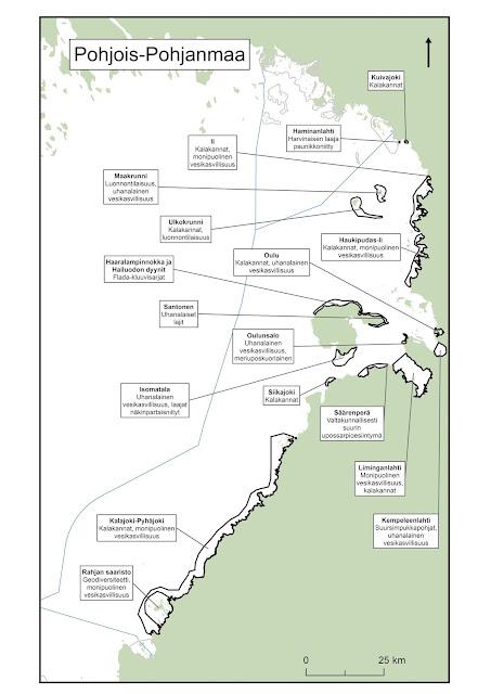Kartta, johon on piirretty pohjoisen Pohjanmaan rannikon EMMA-alueet