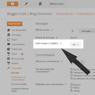 Affichage des images de Blogger en mode lightbox
