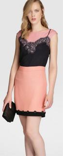 Falda de crepe rosa 2017