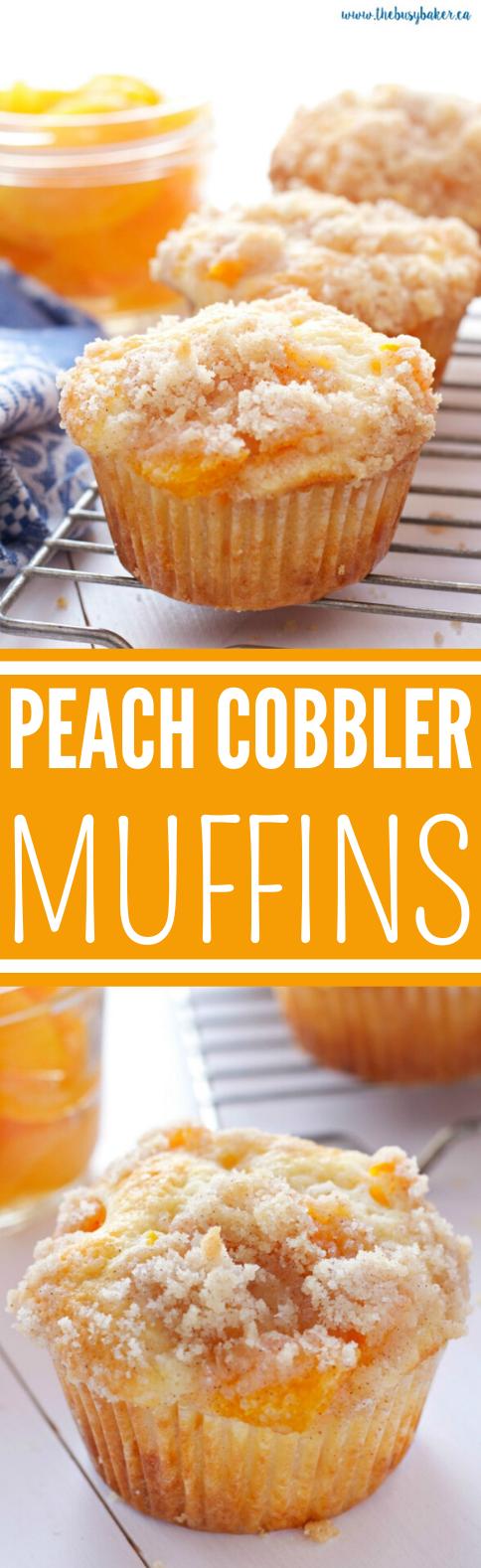 Peach Cobbler Muffins #dessert #baking #muffin #cupcakes #easy