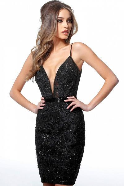 JOVANI - 1106 EMBELLISHED LOW V-NECK COCKTAIL DRESS