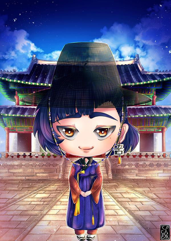 Example of hanbok digital art commission - Exemple de commande de peinture numérique en hanbok
