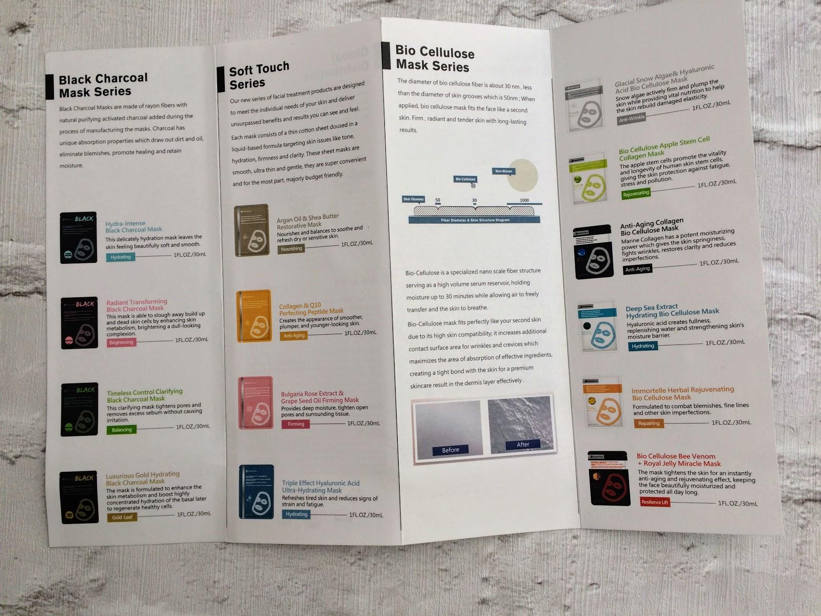 Timeless Truth Sheet Masks menu information card