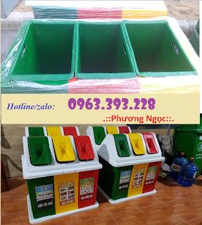 Thùng rác 3 ngăn hình mái nhà, thùng rác composite