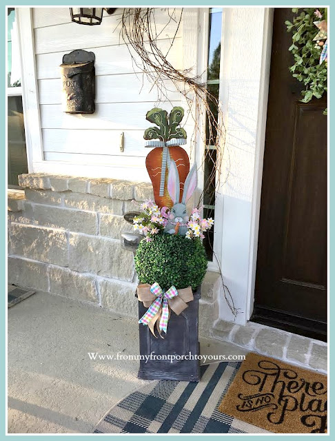 Spring Easter Front Porch-Bunny-Topiary-Porch-Decor-DIY-Cottage Style-Farmhouse Style-From My Front Porch To Yours