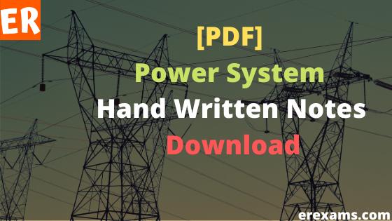 Power System Handwritten Notes Pdf Free Download