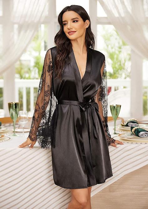 Shiny Black Satin Robes For Women