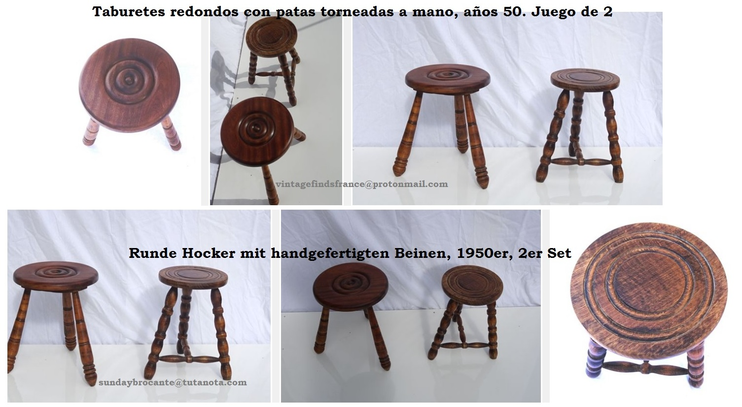 Pair of small mid-century oak/chestnut stools standing on three hand-turned legs, Runde Hocker mit handgefertigten Beinen, 1950er, 2er Set, Taburetes redondos con patas torneadas a mano, años 50. Juego de 2.