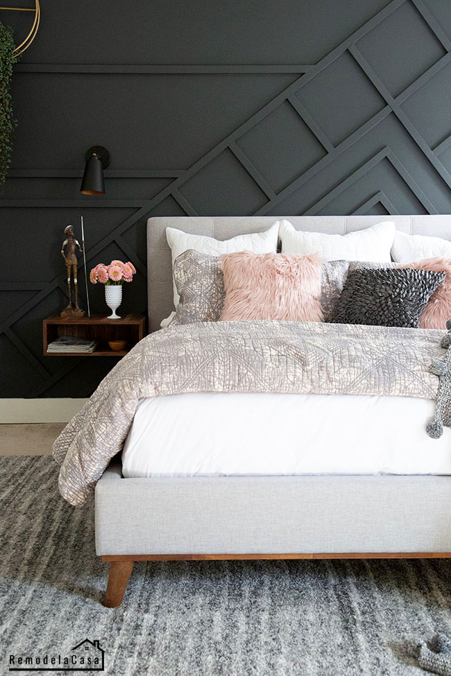 bedroom makeover in gray and pink