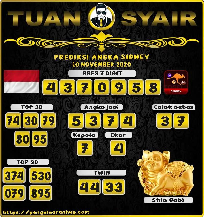 Prediksi Tuan Syair Sidney Selasa 10 November 2020