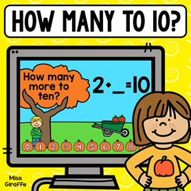 How many more to make ten kindergarten game where kids pick the pumpkin to fill in the addition problem