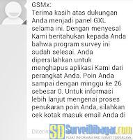 SMS pemberitahuan dari online survey GfK | SurveiDibayar.com