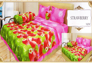 sprei lady rose motif Strawberry