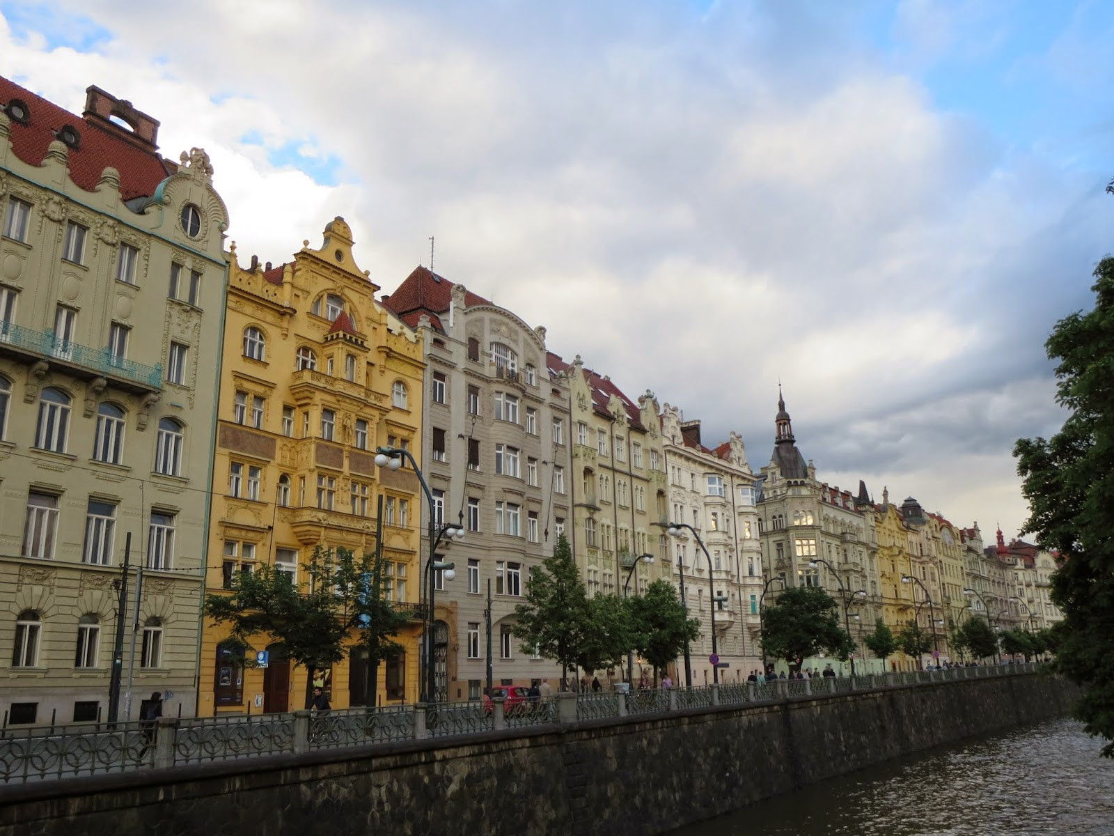 Waterfront buildings in Praguea