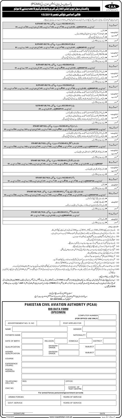 Jobs in Pakistan Civil Aviation Authority CAA Jobs 2019 August
