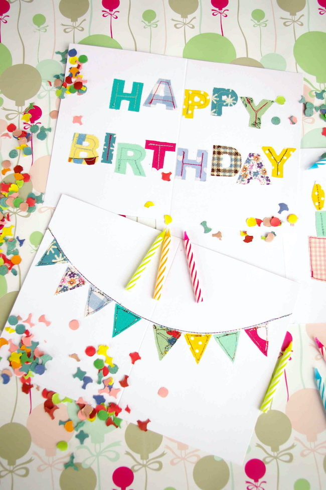Self-Sewn Birthday Cards made from Fabric Scraps by Idim in Berlin featured at Pieced Pastimes