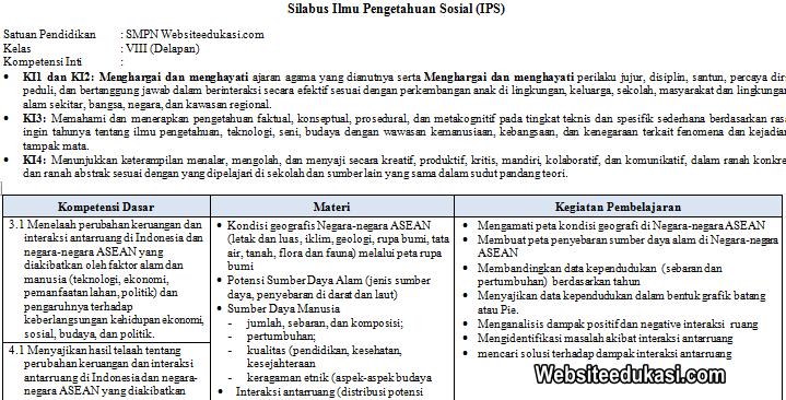 Silabus Ips Kelas 8 Smp Mts Kurikulum 2013 Revisi 2019 Websiteedukasi Com
