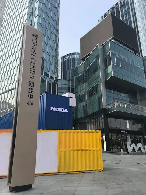 Container with Nokia logo