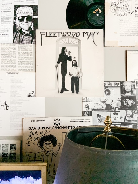 record sleeves on wall
