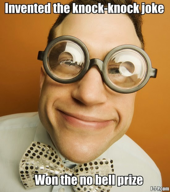 Funny knock-knock joke inventor no bell nobell prize winner meme picture