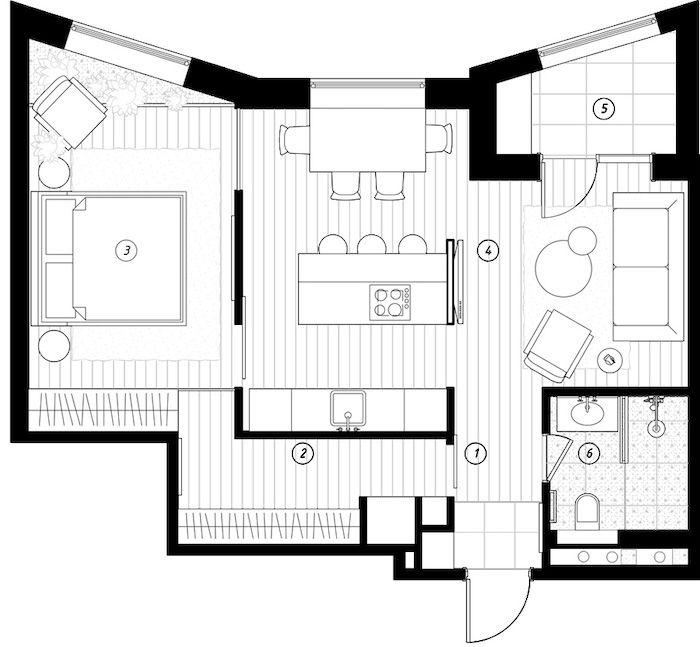 Plano de un apartamento pequeño moderno