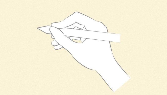 Anime tangan memegang pena atau sketsa pensil