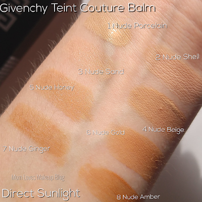 Givenchy Beauty Foundation Review + Swatches 1 Nude Porecelain 2 Nude Shell 3 Nude Sand 4 Nude Beige 5 Nude Honey 6 Nude Gold 7 Nude Ginger 8 Nude Amber