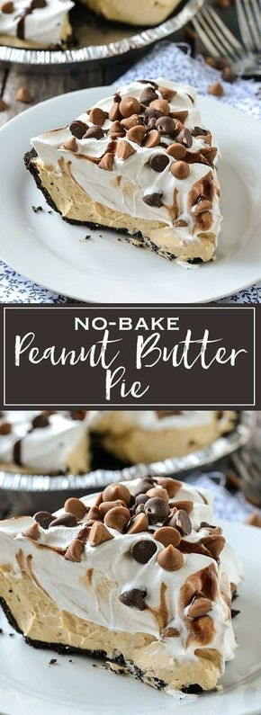 A simple recipe for creamy and delicious No-Bake Peanut Butter Pie. It only takes minutes to make with just a few ingredients! If you love peanut butter this is one pie you'll absolutely love!