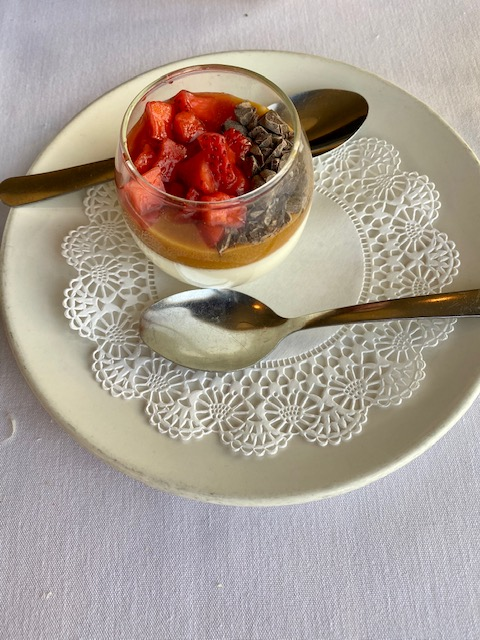 Vanilla Panna Cotta with Caramel, Fruit and Cocoa Nibs