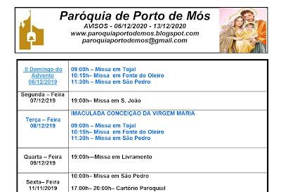 Avisos Paroquiais - 06-13 de Dezembro de 2020