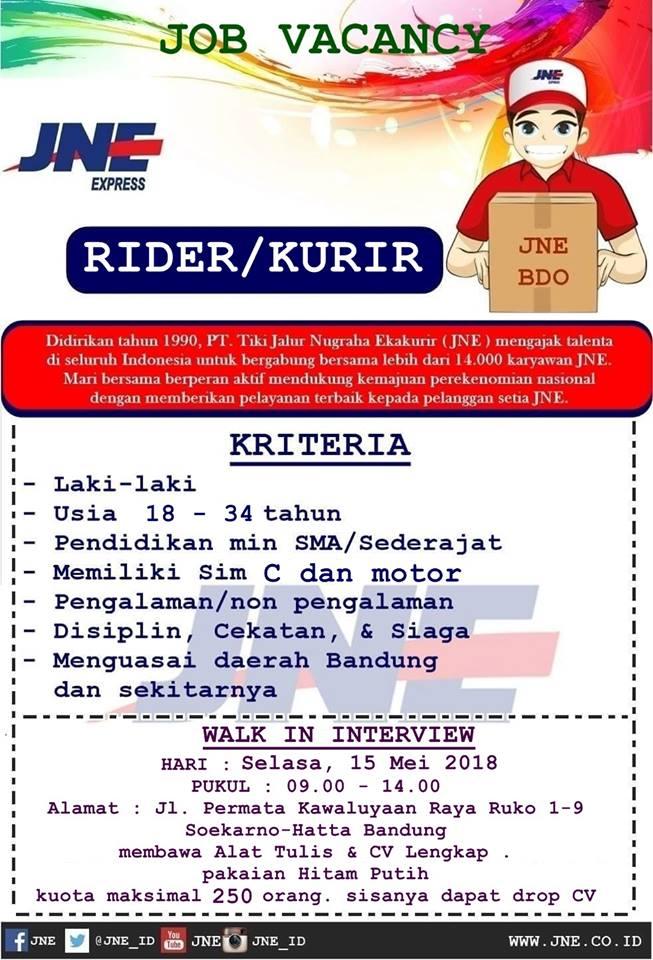 Loker Rider Jne Bandung Lowongan Kerja Terbaru Indonesia 2020