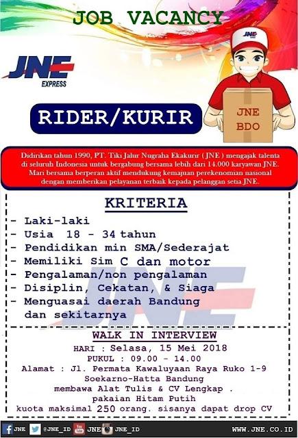 Loker Rider JNE Bandung