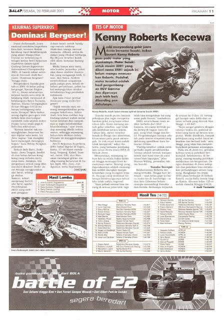 BALAP MOTOR: TES GP MOTOR KENNY ROBERTS KECEWA