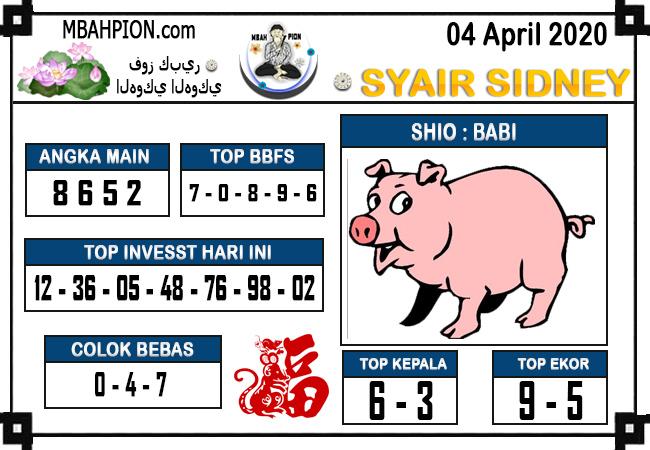 Syair Sidney Sabtu 04 April 2020 - Syair Mbah Pion