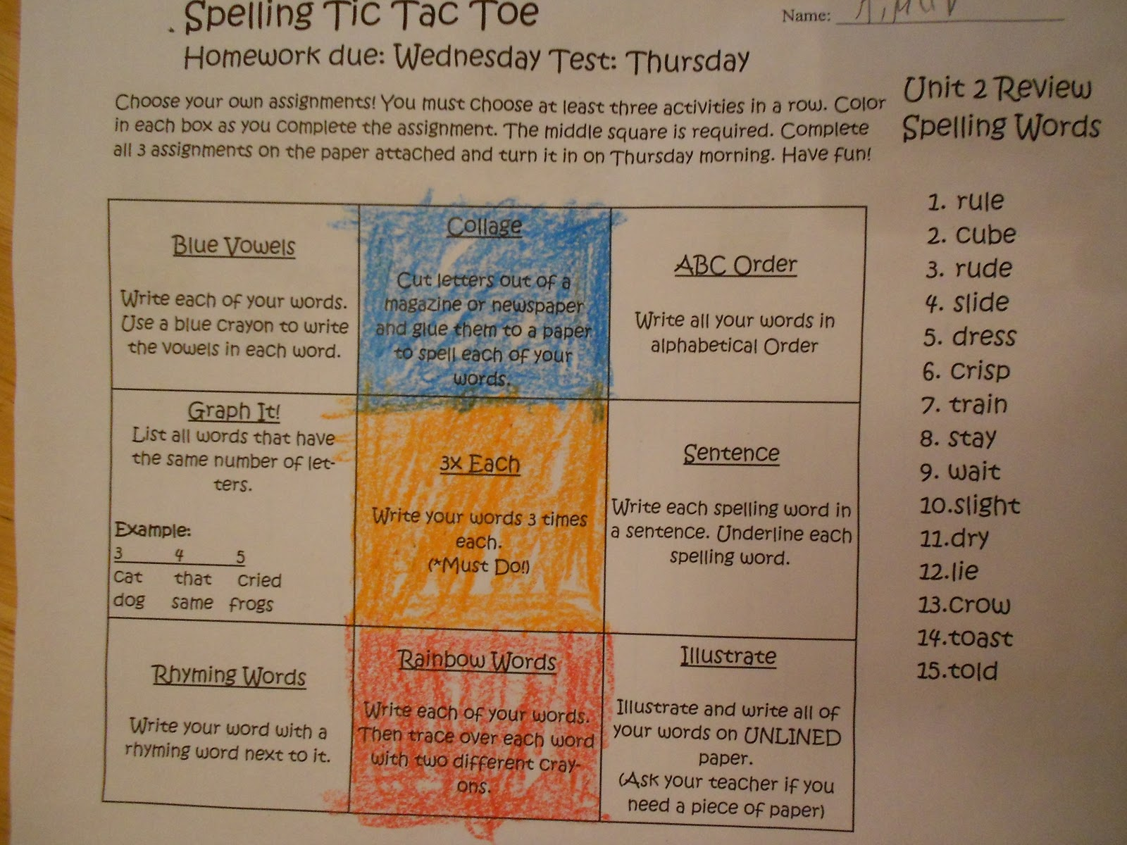 Spelling Tic Tac Toe Menu