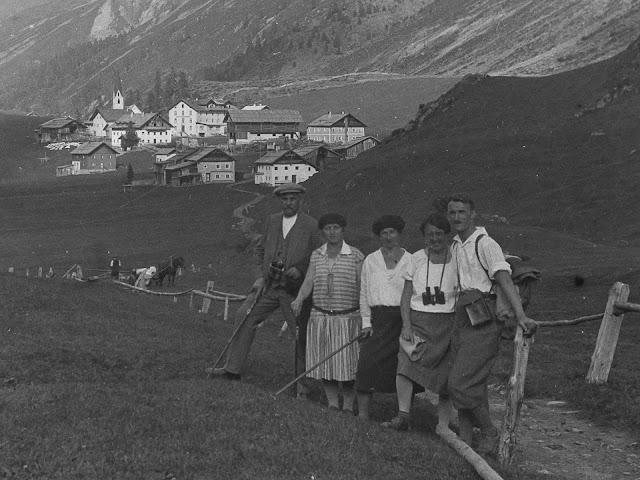 Detail - südöstlich von Obergurgl, über den Ort hinweg, mit Blick auf den Kirchenkoge - wahrscheinlich vor 1930