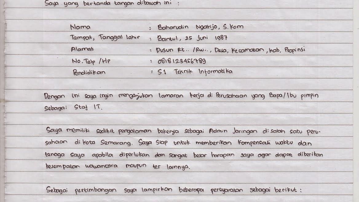 Contoh Surat Lamaran Menggunakan Tulis Tangan