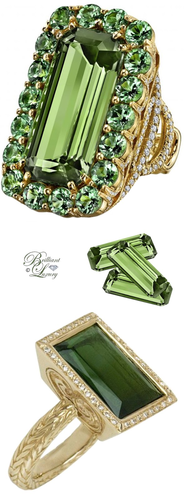 Brilliant Luxury ♦ Erica Courtney Csarite Byzantine Ring & Just Jules Green Tourmaline Ring