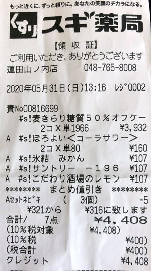 スギ薬局 蓮田山ノ内店 2020/5/31 のレシート