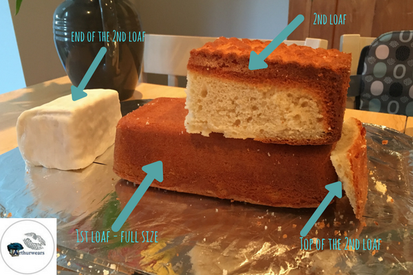 how to section the loaves to make the blue bin lorry recycling garbage truck birthday cake