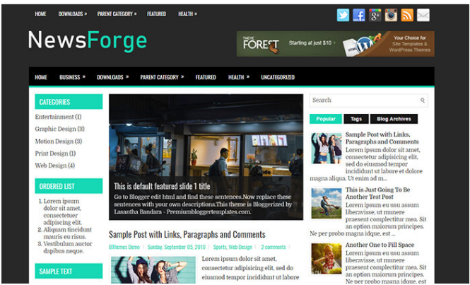 Chia sẻ giao diện NewsForge blogger template