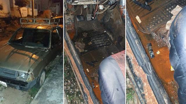 Carro abandonado preocupa moradores do bairro Peru, em Jacobina