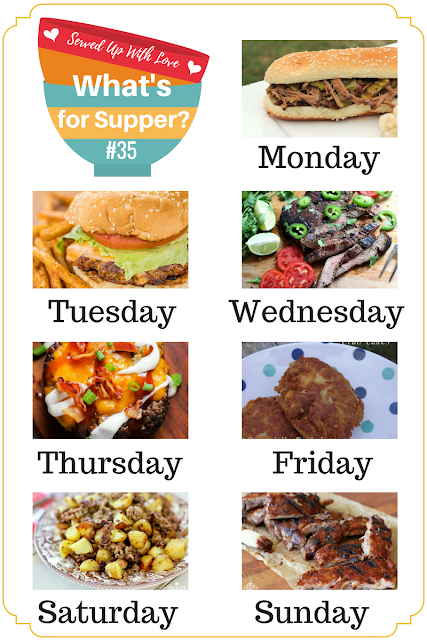 Fully Loaded Burger Bowls, Honky Tonk Tequila Lime Steak, Crab Cakes Mile High Lemonade Pie and more at What's for Supper Sunday meal plan over at Served Up With Love.