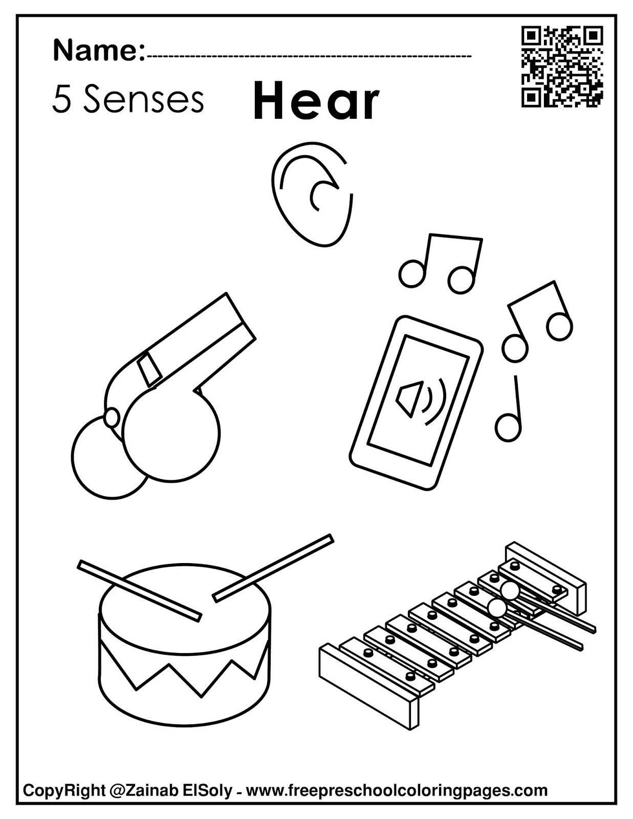 Five senses clipart coloring page, Picture #43360 five senses ... | 1600x1237