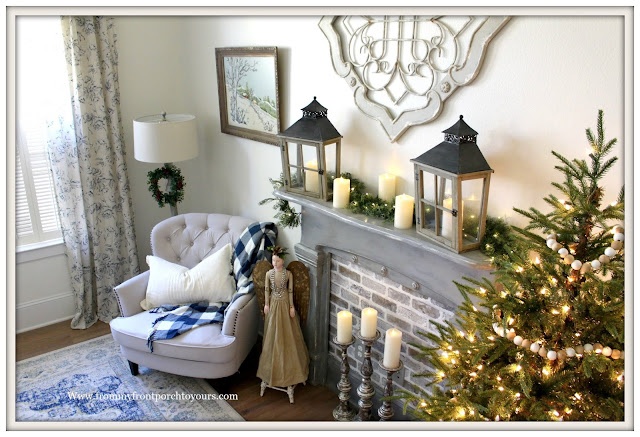 French Country-French Farmhouse-Christmas-Bedroom-Faux-Fireplace-From My From Porch To Yours